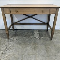 "**ITEM NOW SOLD** Caperton Furniture Works 'Monaco' writing desk. Purchased from Del Teet in 2017. Solid maple with sandalwood stain finish. 46""w x23""d x 30.75""h. Orig. list: $1,369. Modele's Price: 650.-"