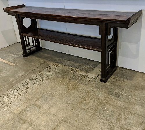 """Reproduction Asian-style altar table by Burton Ching of San Francisco. 87.25""""l x 18""""d x 35.75""""h. 795.-"""