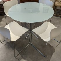 The Knoll Paperclip table shown with the Knoll Handkerchief chairs. Sold separately but very nice as a set!