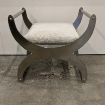 "Studio Steel stool, c. 1995. Designed by Steven Hensel. 26.5"" x 18.75""d x 25.75""h 795.- each (2 available)"