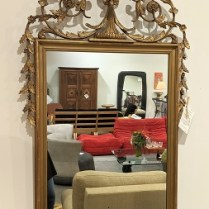 "**ITEM NOW SOLD** Vintage mirror, lovely ornate piece with spots of gold leaf. 27""w x 62""h. 550.-"