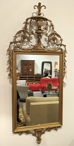 "Vintage mirror, lovely ornate piece with spots of gold leaf. 27""w x 62""h. 550.-"