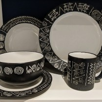 **ITEM NOW SOLD** 38 piece set of Habitat 'Scraffito' dishware. Purchased in London. 10 dinner/7 salad plates/8 soup bowls/7 cereal bowls/5 mugs/platter. 695. set