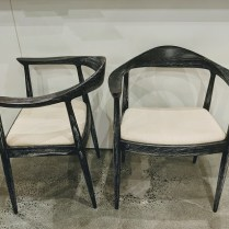 "Pair Bungalow 5 'Danish' chairs. Never used, arrived in original cartons. Limed black finish on mahogany. Ivory linen seat cover. 25""w x 21.5""d x 30.25""h. Current Retail: $1,802. pair Modele's Price: 895.- pair"