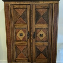 """**ITEM NOW SOLD** Antique storage armoire (interior shelves), purchased from Pelayo Antiques in the 1990's. Not all original, some pieces/parts assembled. 54.75""""w x 19.5""""d x 75.5""""h. 595.-"""