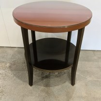 """Baker 'Eclipse' side/center table. Purchased in 2009. Brass caps on feet, top is lacquered. 28"""" dia. x 30.5""""h. Orig. list: $1,990. Modele's Price: 850.-"""