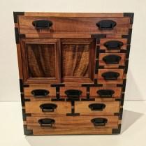 "**ITEM NOW SOLD** Evert Sodergren mini tansu in solid koa wood. Built in 2008. 15""w x 9.75""d x 18.5""h. Orig. list: $3,500. Modele's Price: 1395."