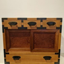 """**ITEM NOW SOLD** Evert Sodergren small tansu in solid wood with birds-eye maple drawers. Built in 2000. 26""""w x 16""""d x 22.25""""h. Orig. list: $4,000. Modele's Price: 1750."""