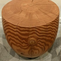 """**ITEM NOW SOLD** Meyer Wells solid fir """"Drum"""" side table. Showroom sample, never used in a home. 19"""" dia. x 20""""h. Orig. list: $2,000.-3,000. Modele's Price: 950."""