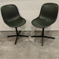 "Pair Hay 'Neu' swivel dining chairs, very light use. Discontinued styles. 18""w x 20.5""d x 32.5""h, dark green. Orig. list: $590. pair Modele's Price: 295. pair"