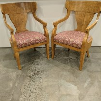 """**ITEM NOW SOLD** Pair burled wood armchairs, purchased through designer 18 years ago. Manufacturer not known. Seats lift out for easy change of fabric, if desired. 23.5""""w x 26""""d x 36.5""""h. Orig. list: $3,600. pair. Modele's Price: 950. pair"""