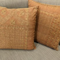 """**ITEM NOW SOLD** Pair custom Fortuny pillows, purchased from Palo Alto boutique 7 years ago. Fortuny on one side. 19.5"""" sq. 450.- pair"""
