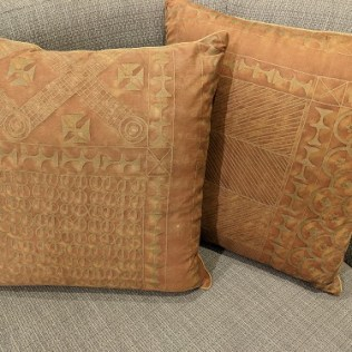 """Pair custom Fortuny pillows, purchased from Palo Alto boutique 7 years ago. Fortuny on one side. 19.5"""" sq. 450.- pair"""