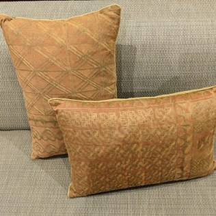 """Pair rectangular custom Fortuny pillows. Purchased at Palo Alto boutique 7 years ago. Fortuny on one side. 19""""w x 13.5""""h. 350. pair"""