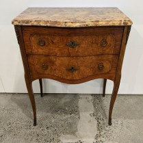"""Vintage French side table/nightstand/chest. Marble top and lovely veneer. 23.75""""w x 14""""d x 30""""h. Purchased in 1995 for $1,100. Modele's price: 395."""