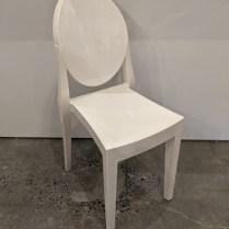 """Kartell 'Victoria Ghost' side chair. Designed by Philippe Starck. Purchased in 2009. 15.25""""w x 18.25""""d x 35.75""""h. Current list: $380. Modele's Price: 190."""