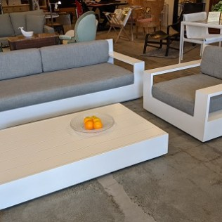 Restoration Hardware outdoor 'Marbella' 7' sofa, lounge chair, coffee table. 5 years old. Perennials fabric: Indoor/outdoor Linen weave two-tone in 'Fog'. Current list: $5,941. set Modele's Price: 2975. set