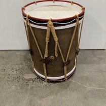 """Restoration Hardware drum side table, purchased in 2014. 19"""" dia. x 24.5""""h. Orig. list: $500. Modele's price: 250."""