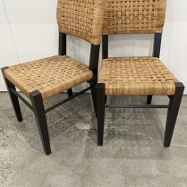 """**ITEM NOW SOLD** Set/6 Palecek 'Panamawood' dining side chairs. 16 years old, very light use. 18.5""""w x 23""""d x 34.5""""h. Current list: $4,579. set Modele's price: 1895. set"""