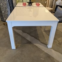 """Jonathan Adler 'Happy Chic' dining table. Purchased from the former Jonathan Adler store in U-Village in 2014. Lacquered finish. 84""""l x 40""""w x 30""""h. Orig. list: $3,800. Modele's Price: 1450."""