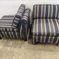 """Pair vintage slipper chairs, with newer upholstery, made in Canada. Includes two matching throw pillows. 27""""w x 36""""d x 32.5""""h. 650. pair"""