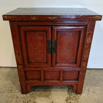 """**ITEM NOW SOLD** Small antique Chinese cabinet (Shanxi province) with red lacquer finish and painted details. 22.5""""w x 14.25""""d x 25""""h. Orig. list: 735. Modele's price: 350."""