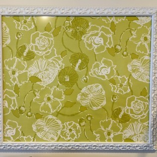 """Framed Lily Pulitzer fabric, purchased in 2014. 47""""w x 41""""h. Orig. list: $327. Modele's price: 95."""