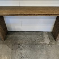 """Mr. Brown of London 'Belmont' console table in rustic grey pine finish. 60""""w x 15.25""""d x 32.5""""h. Current list: $3,585. Modele's price: 1750."""
