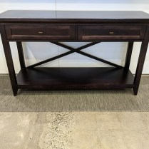 """Lane console table with two drawers and 'X'-back detail. Makes a great bar! 60""""l x 19.75""""d x 34.25""""h. Orig. list: $1,200. in 2000. Modele's price: 595."""