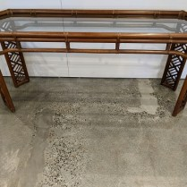 """Vintage Brown Jordan indoor rattan console table with inset glass top, c. 1970's. 60""""l x 48.25""""d x 27""""h. 495.-"""
