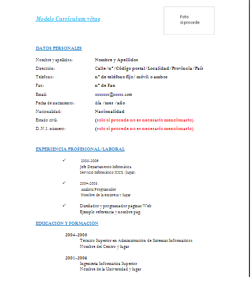 Descargar Curriculum Vitae Modelo En Word Resume Examples For