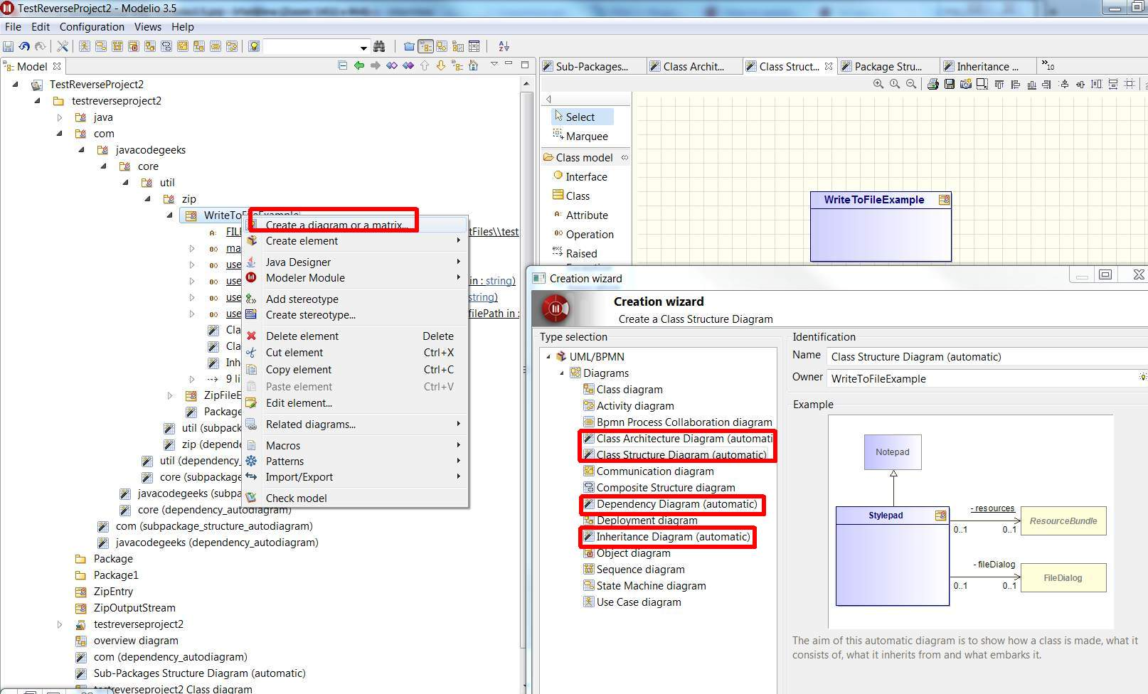 create class diagram from java code goodman wiring automatically generate diagrams modelio forum