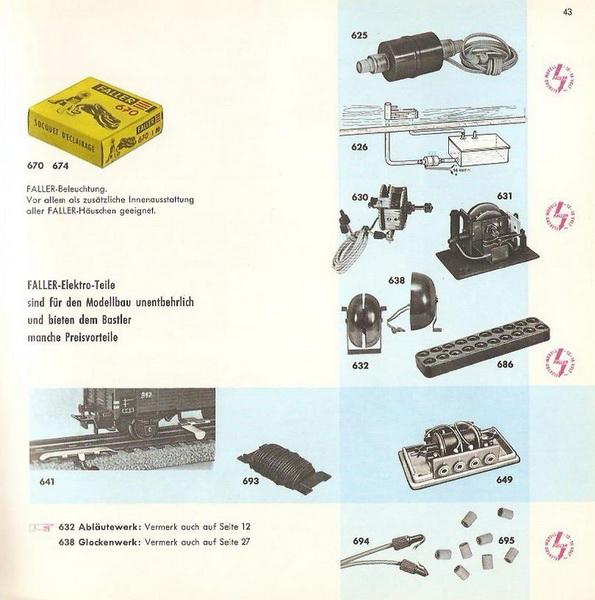 Faller Elektroteile Auszug Faller Katalog 1959