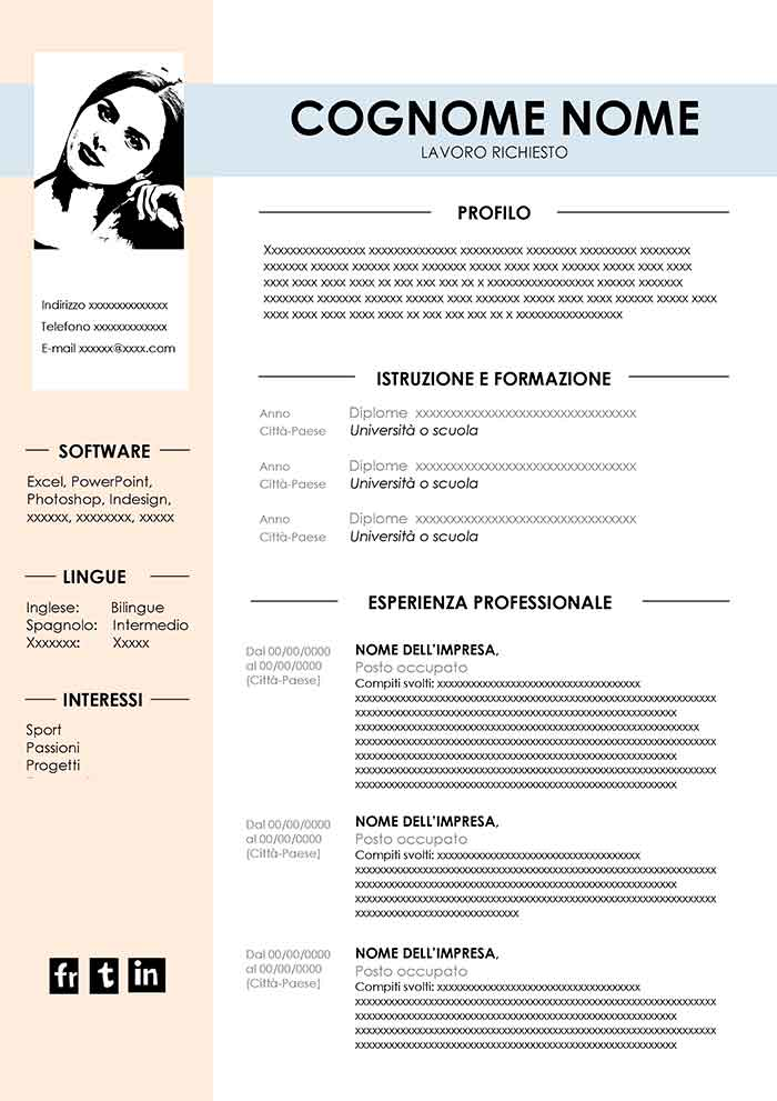 Curriculum Vitae Semplice Da Compilare In Word Modello