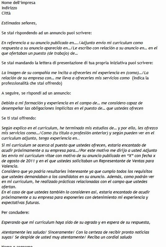 Modello Di Lettera Di Presentazione In Spagnolo Modello