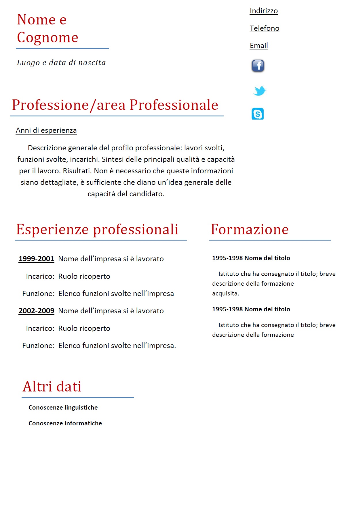 Modello Curriculum Vitae Europass Inglese Sample Resume For Entry
