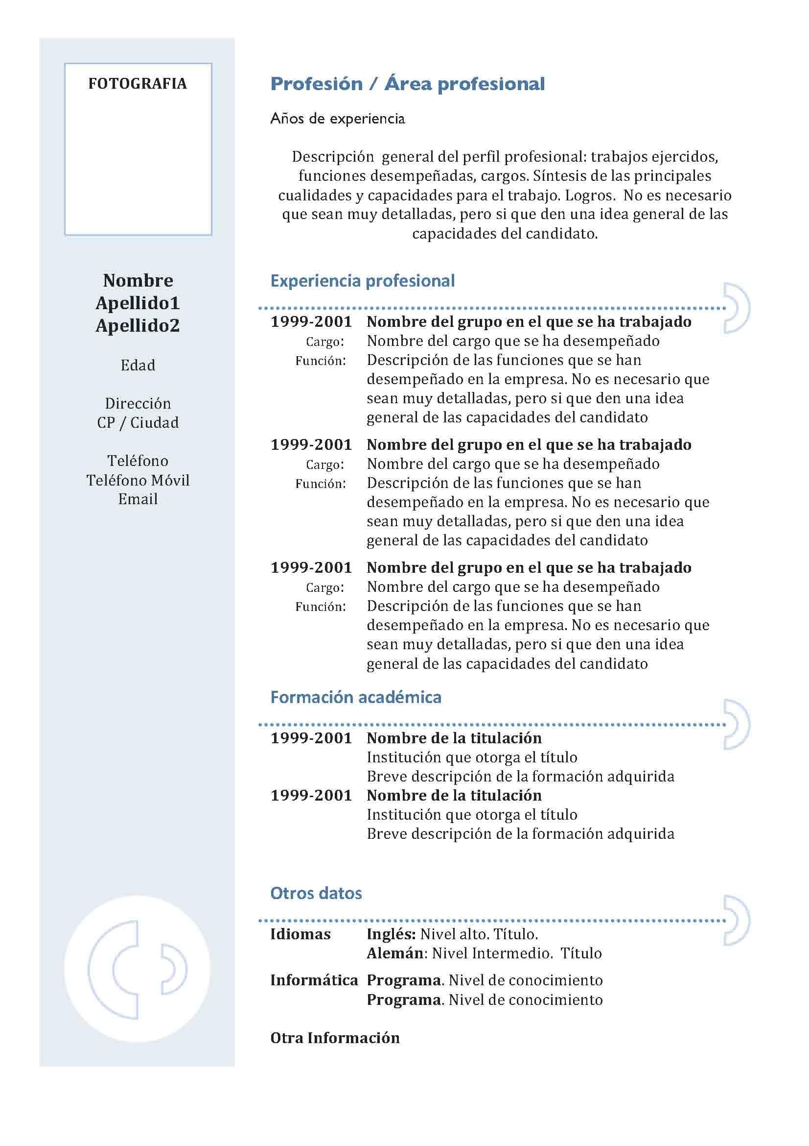 cv chronologique pdf