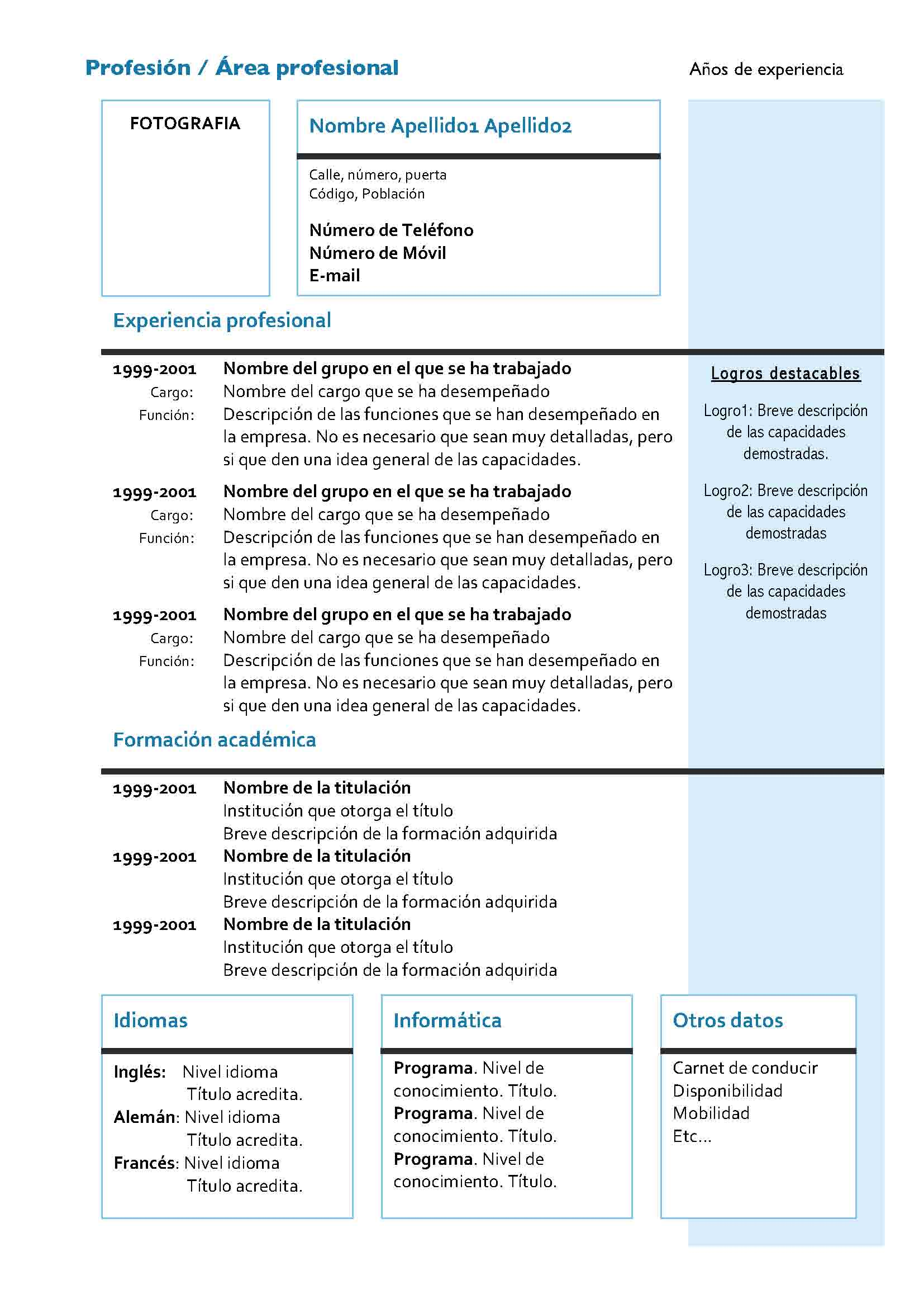 Ejemplos De Curriculum Vitae En Word Hechos Sample Resume Service