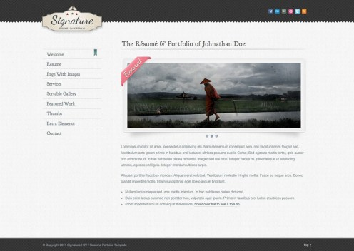 Plantilla de curriculumo online con Signature