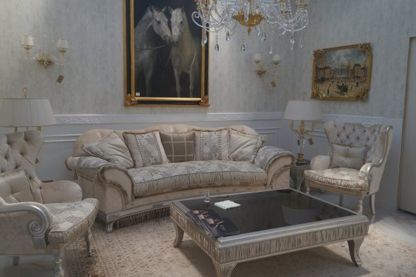 Luxury interior with wallpapers