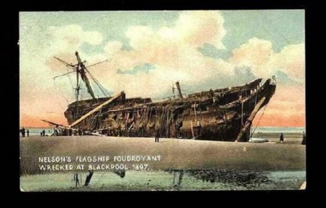 Forums / Nautical History & Research / HMS Foudroyant, Nelson's flagship,  wrecked on Blackpool beach, England, 1897. - Model Ship Builder