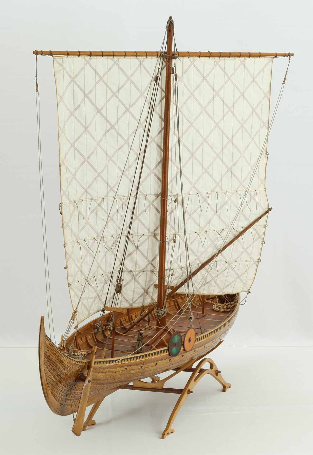 Photos of model of Gokstad ship of late 9th century views of entire model