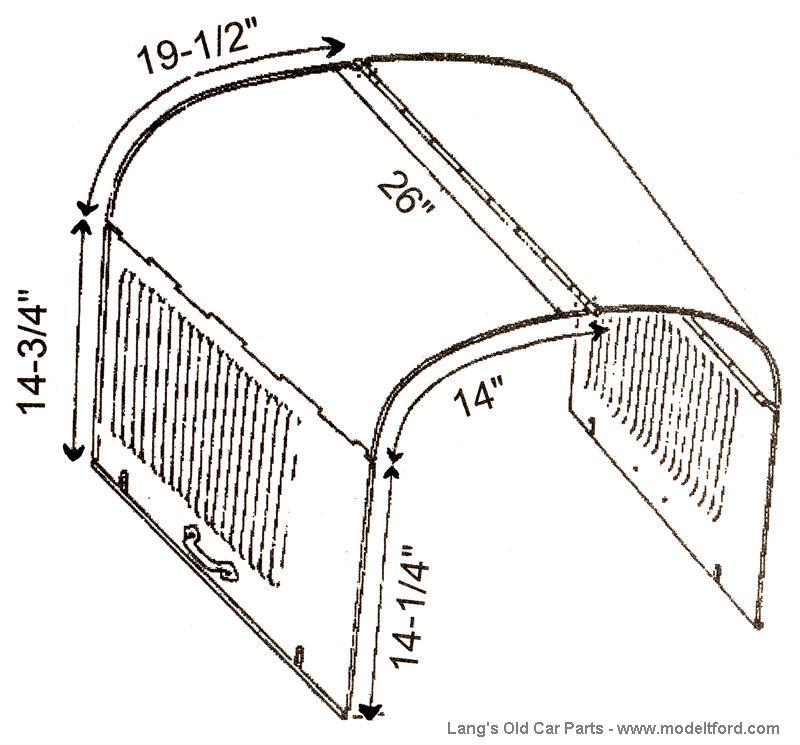 Model T Hood. Steel hood, latch dimples, stamped steel