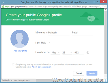 Google Plus Sign Up