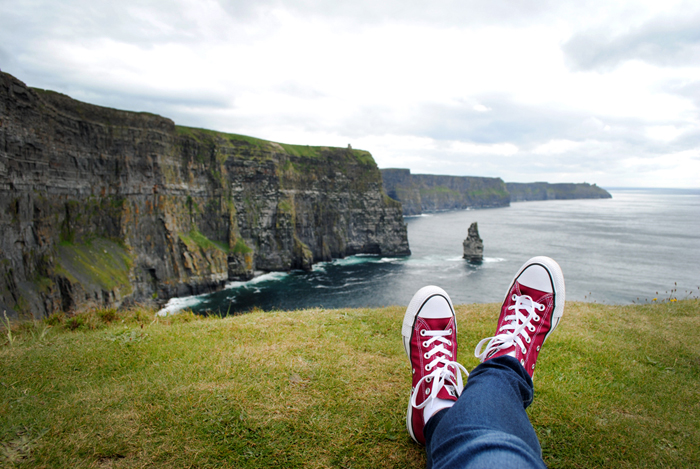 Converse shoes are great for hiking the Cliffs of Moher in Ireland
