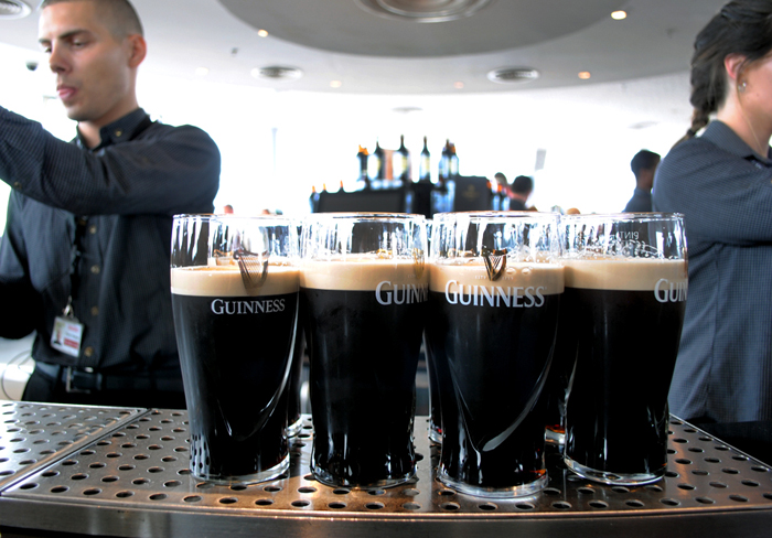 Pints at the Gravity Bar at the Guinness Storehouse in Dublin, Ireland