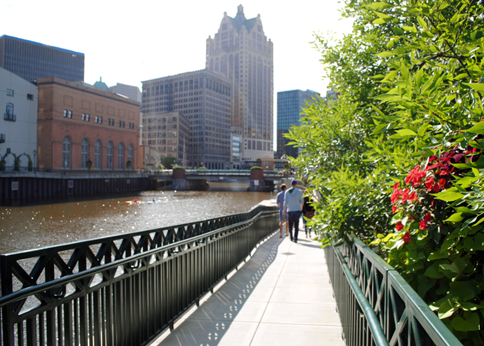 Walking along the riverwalk in downtown Milwaukee, Wisconsin