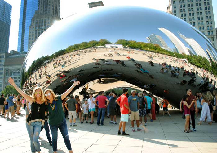 The Travel Channel's Trip Sisters show with Catie Keogh and Colleen Kelly, at Cloud Gate in Chicago