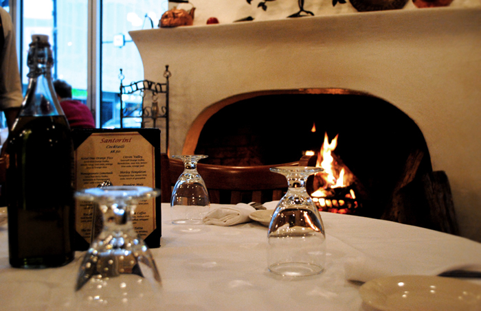 Greektown wood-burning fireplace with delicious Greek food in Chicago
