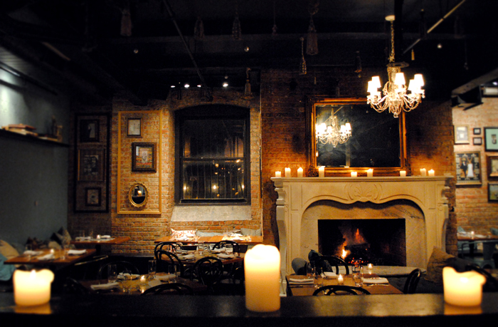 French bistro RM Champagne Salon fireplace Chicago
